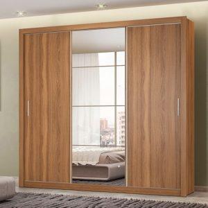 Guarda-roupa Casal com Espelho 3 Portas de Correr – 2 Gavetas Demóbile Flex – L 210cm /A 218cm / P 52cm
