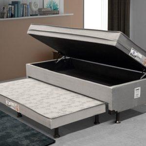 Cama Solteiro Box com Baú e Cama Auxiliar – LightSpuma 61cm Lady