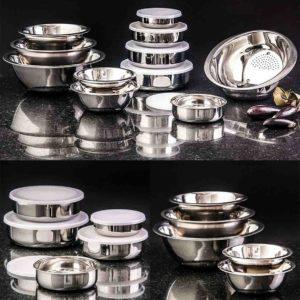 Conjunto de Tigelas + Potes + Escorredor de Arroz Inox La Cuisine – 11 peças