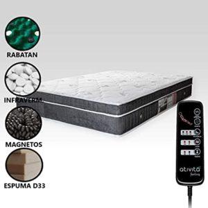Colchão Magnético Com Massageador e Controle Casal (1,38 x 1,88 m) + 2 Travesseiros Magnéticos (Cinza Grafite)