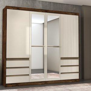 Guarda-roupa Casal com Espelho 4 Portas 6 Gavetas – Rústico Malbec e Off White – L 212cm /A 217cm / P 46,5cm