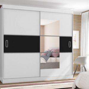 Guarda-roupa Casal com Espelho 2 Portas de Correr – 4 Gavetas Araplac Atraente