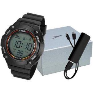 Relógio Masculino Speedo Digital Preto com Carregador Portátil