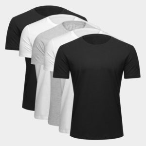 Kit Camiseta Básica c/ 5 Peças Masculina – Preto e Branco