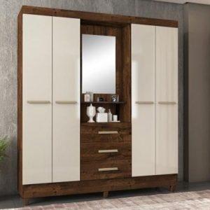 Guarda-roupa Casal c/ Espelho 4 Portas 3 Gavetas – Rústico Malbec e Off White – L 167cm /A 204cm / P 46,5cm