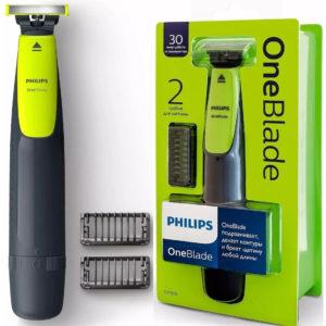Aparador de Barba OneBlade, com 2 pentes, 1 velocidade, Cinza Chumbo/Verde Limão, Bivolt- Philips