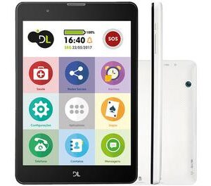 "Tablet DL TabFácil 8GB 7,85"" 3G e Wi-Fi – Android 7 Nougat Proc. Quad Core"