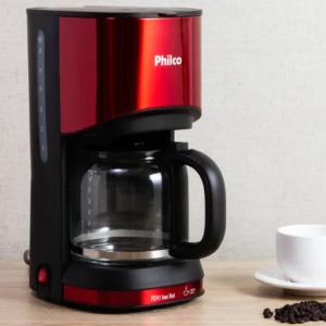 Cafeteira Elétrica Philco Inox Red 30 Xícaras dispensa o uso de filtro de papel,placa aquecedora, corta pingo – 110V/220V