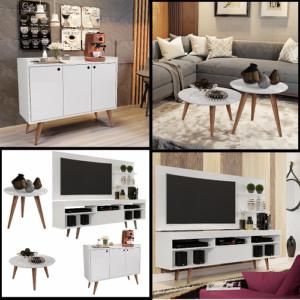 Conjunto Sala c/ Rack e Painel Linea + Aparador Buffet Wood Prime + Mesa De Centro e Lateral – Rpm Móveis