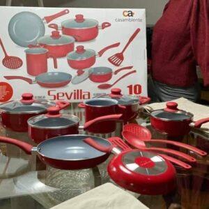 Jogo de Panelas Casambiente Revestimento Cerâmico – de Alumínio Vermelha 10 Peças Sevilla