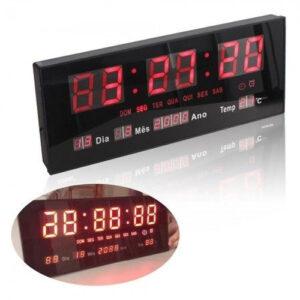 RELÓGIO de Parede LED Vermelho DIGITAL Alto Brilho com Termômetro Data e Hora