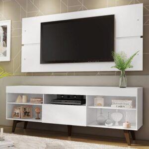 Rack com Painel para Tv até 65 Polegadas Madesa Miami com Pés – Branco