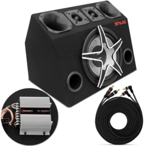 Caixa Trio Completa 630w Rms Subwoofer Magnum + Tweeters + Drivers + Módulo Ts400x4 Montada