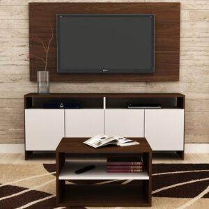 Conjunto Compacto p/ Sala de Estar – Rack + Painel pata tv até 50″ + Mesa de centro – Castanho/Branco