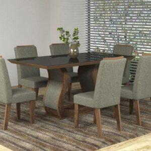 Conjunto de Mesa com 6 Cadeiras Estofadas – Viero Móveis Valência Fendy e Griss