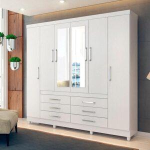Guarda-roupa Casal com Espelho 6 Portas 6 Gavetas Demóbile Paris II – 3 opções de cor