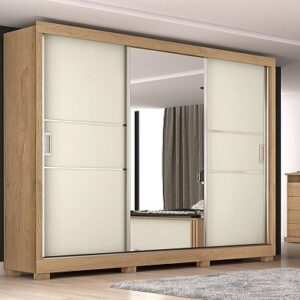 Guarda-roupa Casal com Espelho 3 Portas de Correr – 3 Gavetas Europa Maranello