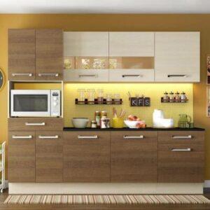 Cozinha Completa Madesa Rubi com Armário e Balcão 10 Portas 2 Gavetas Tirol/Rustic/Tirol 210x250cm