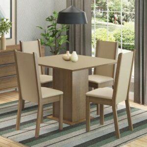 Conjunto Sala de Jantar Madesa Alana Mesa Tampo de Madeira com 4 Cadeiras