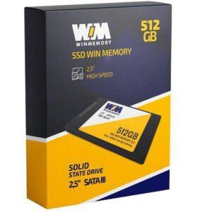 "SSD 512GB WIN MEMORY SATA 2,5"" Leitura 560MB/s – Gravação 540MB/s SWR512G"
