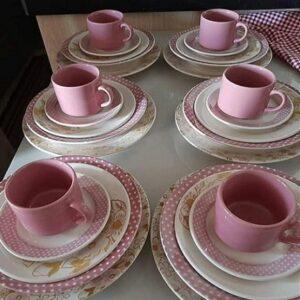 Aparelho de Jantar Chá Biona Cerâmica Redondo Rosa Donna – 30 Peças