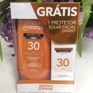 Kit Cenoura e Bronze Protetor Solar Fps30 + Protetor Facial Fps30