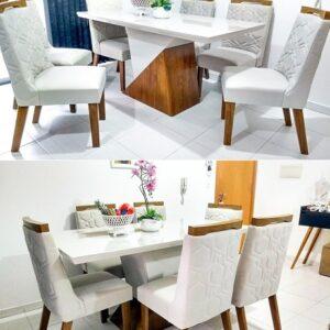 Conjunto para Sala de Jantar Mesa e 6 Cadeiras Juá Espresso Móveis Canela/Off White/Pena Palha