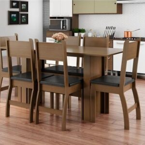 Mesa de Cozinha 6 Cadeiras Retangular Milano Poliman Móveis