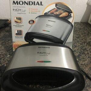 Sanduicheira/Grill Mondial Premium Inox 800W Antiaderente – 110v/220v