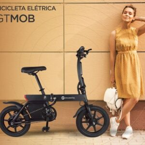Bicicleta Elétrica Dobrável GT MOB até 25KM/h autonomia de 20km suporta até 120kg – 220v