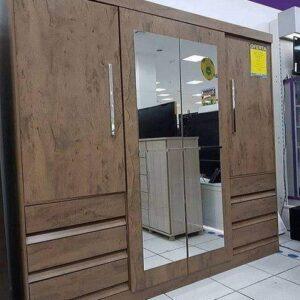 Guarda-roupa Casal com Espelho 4 Portas 6 Gavetas Araplac Sofia – 209cm x 217cm