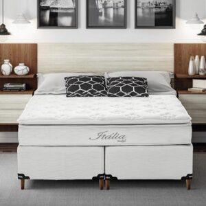 Cama Box King Size + Colchão Itália Umaflex com Molas Ensacadas e Pillow Top 68x193x203cm