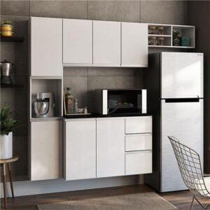 Cozinha Completa Poliman Móveis Laura com Balcão 8 Portas 2 Gavetas