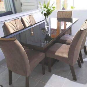 Conjunto Sala de Jantar Mesa Tampo MDF/Vidro 6 Cadeiras Leblon Tik Plus Espresso Móveis – Castanho/Tampo Preto