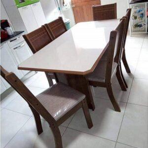 Mesa de Jantar 6 Cadeiras Retangular Indekes Cristal