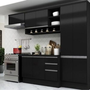 Cozinha Compacta Multimóveis Suíça 5195ML com Balcão 10 Portas 2 Gavetas