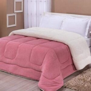Coberdrom solteiro lã de carneiro sherpa manta soft rosê