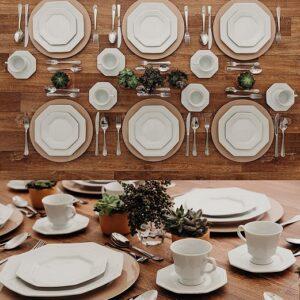 Aparelho de Jantar Chá Café Schmidt em Porcelana Octogonal Prisma Branca – 42 peças