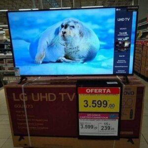 """Smart TV Led 60"""" LG 60UN7310 Ultra HD 4K AI Conversor Digital Integrado 3 HDMI 2 USB WiFi Preta"""