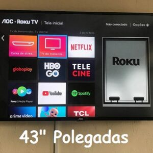 Smart TV LED 43″ Full HD AOC ROKU TV FHD 43S5195/78G, Wi-Fi, 3 HDMI, 1 USB, Wifi, Conversor Digital