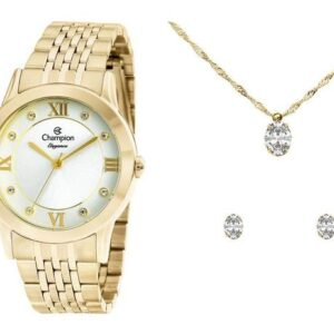 Relógio Feminino Champion Analógico Elegance – Dourado com Acessórios