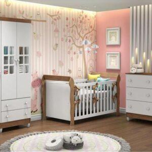 Quarto de Bebê Completo com Berço Guarda-Roupa e Cômoda Carolina Baby Maria