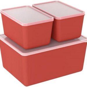 Jogo de Potes de Plástico Hermético Coza com Tampa Retangular Basic – 3 Peças