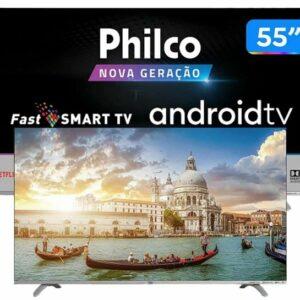 cupom→( TECH100 )Smart Google Tv Philco 55″ Led Borderless 4k, Fast Smart, Áudio Dolby, Com Chromecast Built In