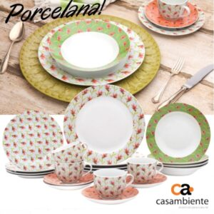 Aparelho de Jantar Chá 20 Peças Casambiente – Porcelana Redondo Flox