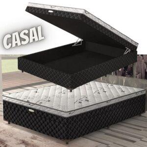 Cama Box Com Baú Casal Lightspuma Roma Ortopédic...