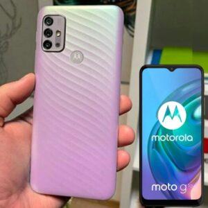 "Smartphone Motorola Moto G10 64GB Branco Floral – 4G 4GB RAM Tela 6,5"" Câm. Quádrupla + Selfie 8MP"