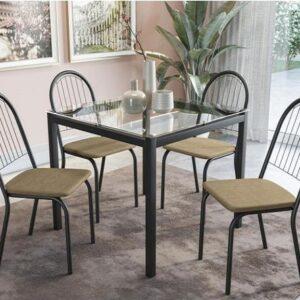 Mesa de Cozinha 4 Cadeiras Quadrada Tampo de Vidro – Crome Florida Kappesberg