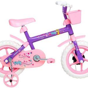 Bicicleta Infantil Aro 12 Verden Paty – Rosa e Lilás com Rodinhas e Cesta
