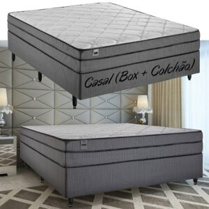 Cama Box Casal (Box + Colchão) Inducol – Molas Ensacadas 64cm de Altura Vanille Black